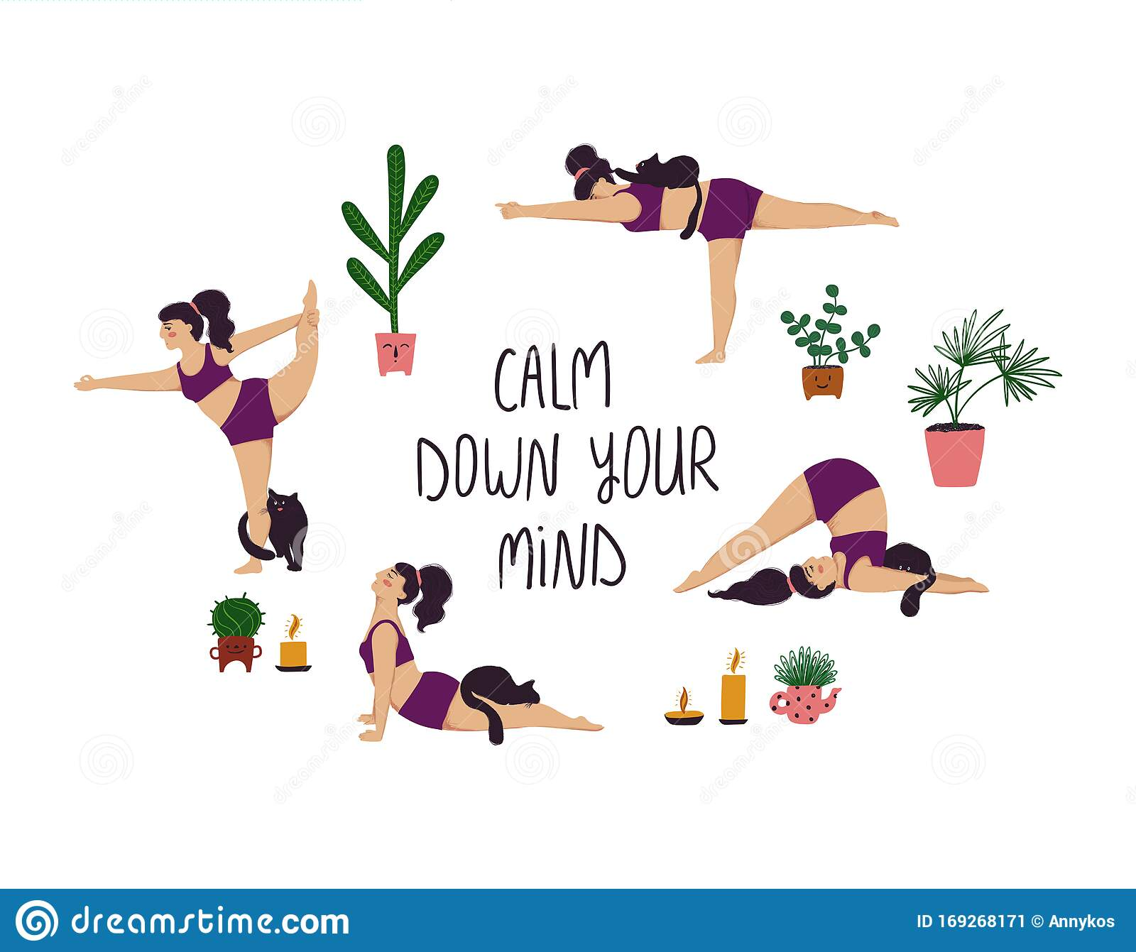 Girl Doing Yoga Poses With Cat Stock Vector Illustration Of Illustration Happy 169268171