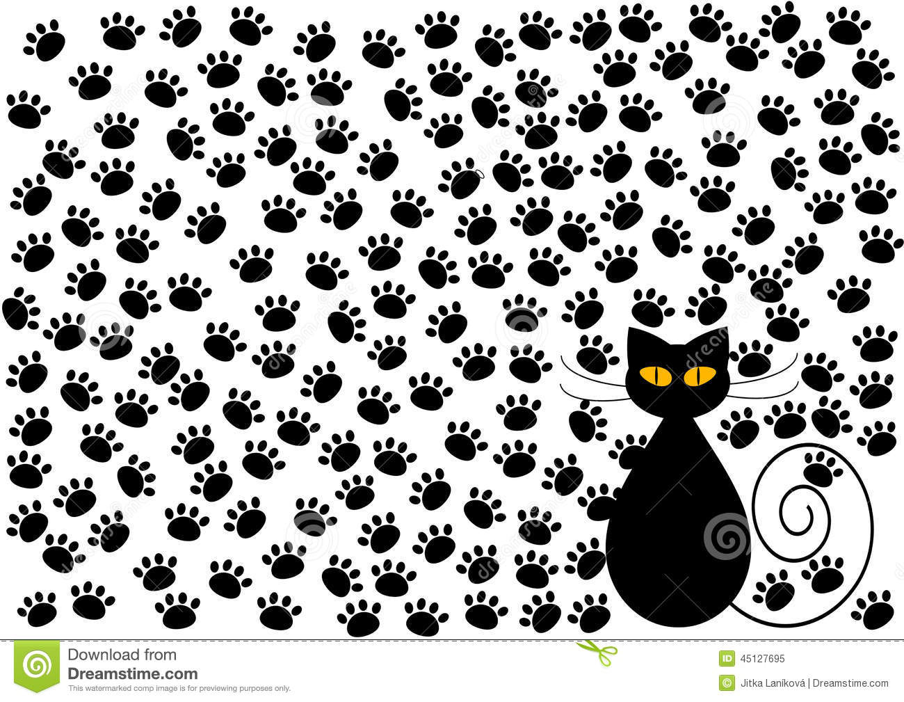 Funny Cat And Cats Paws Background Stock Illustration