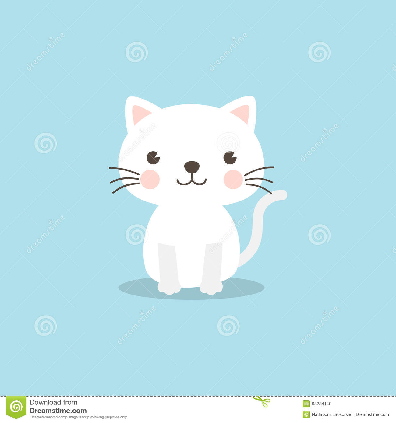 Funny Cat Character On Sky Blue Background