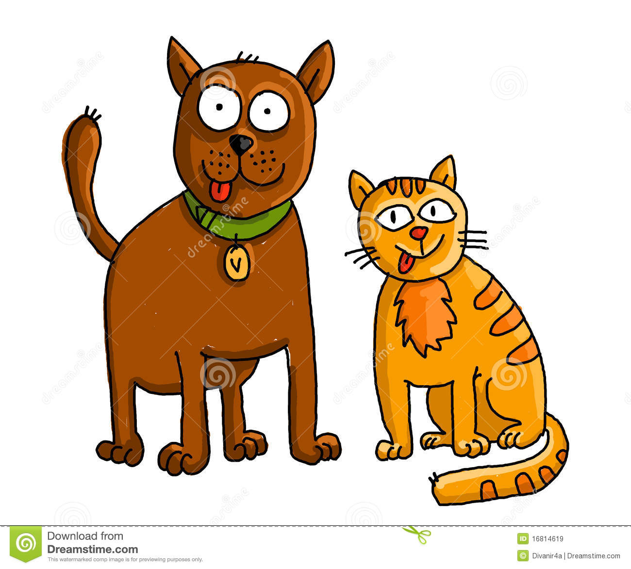 Pet Friendly House Plans Funny Cat And Dog Stock Illustration Illustration Of
