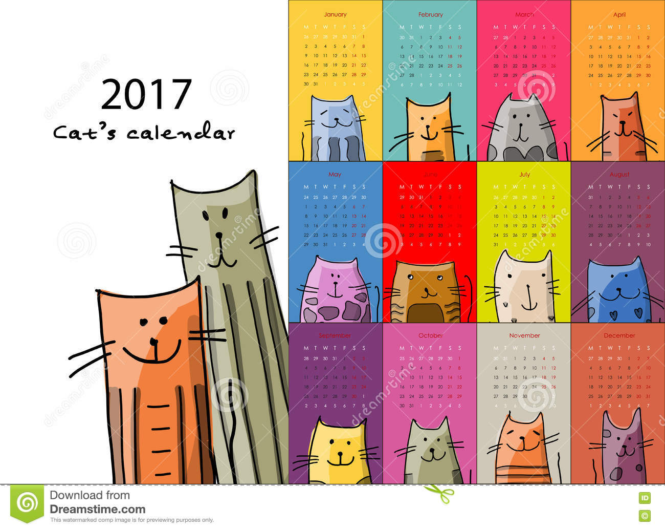Illustration Calendar Design : Funny cats design calendar stock vector