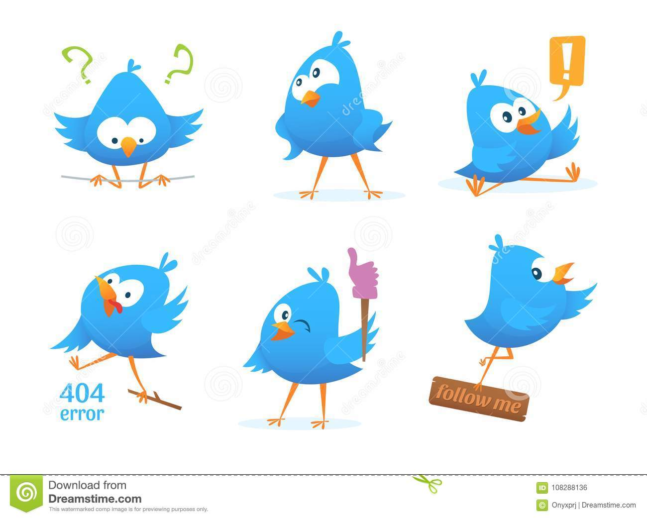 Funny Characters Of Blue Birds In Action Poses Stock Vector