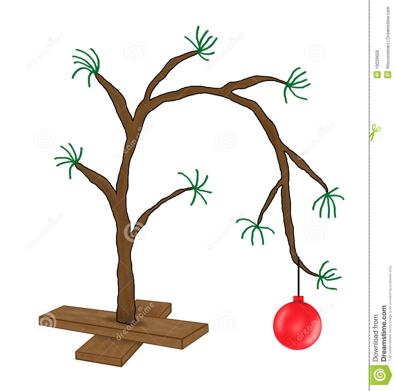 Funny Charlie Brown Christmas Tree Cartoon Stock Photo