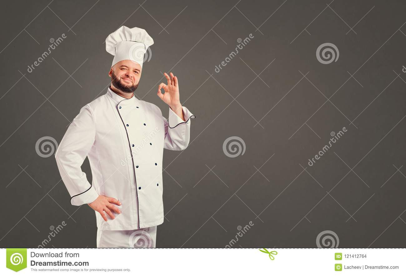 Funny chef with beard cook.