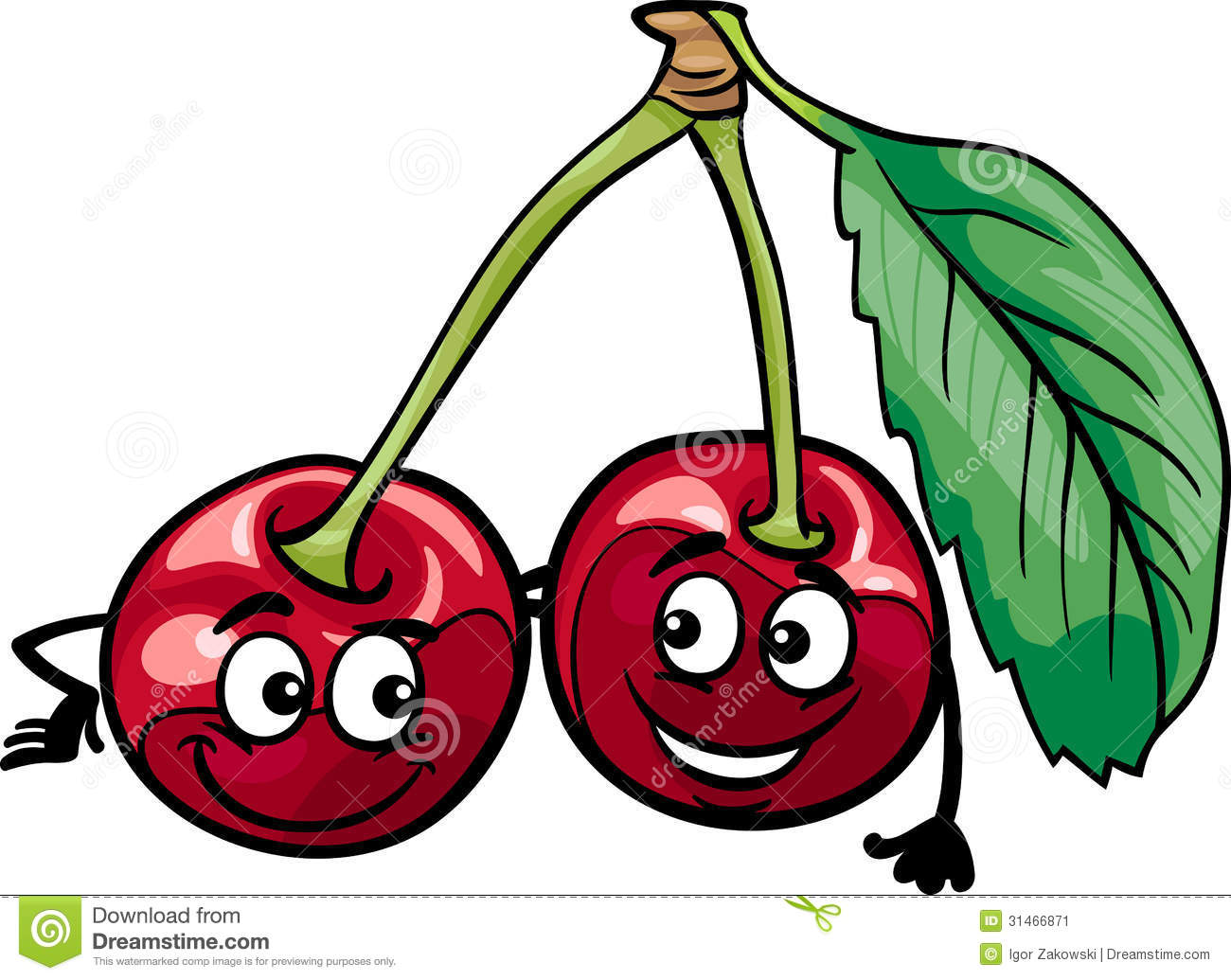 Funny Cherry Fruits Cartoon Illustration Stock Image - Image: 31466871