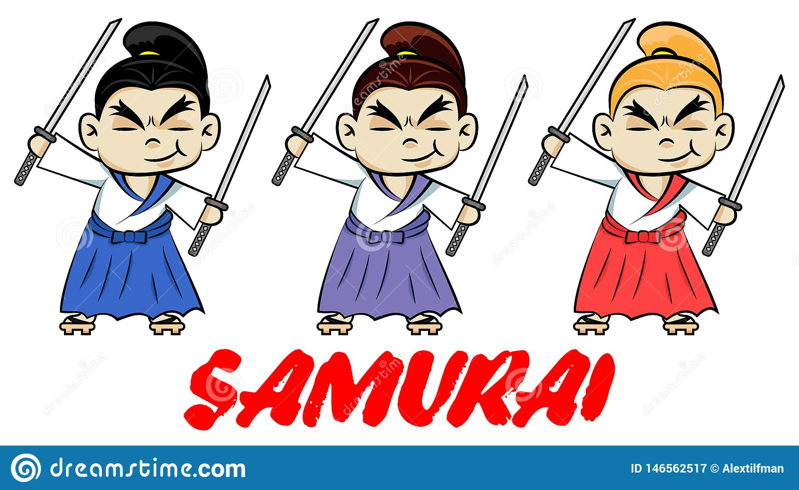 Funny chibi samurai with two katanas. Cute ninja samurai warrior fighter character in three color styles. Design for print, t-shi