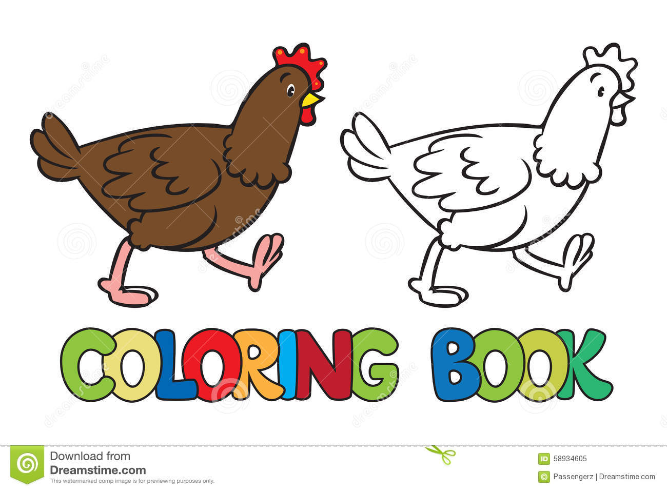 Funny Chicken Coloring Book Stock Vector - Illustration of cute ...