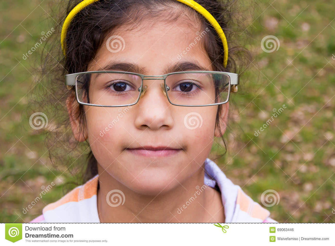 Funny Child Girl Wear Too Big Glasses Stock Photo - Image of smile ...