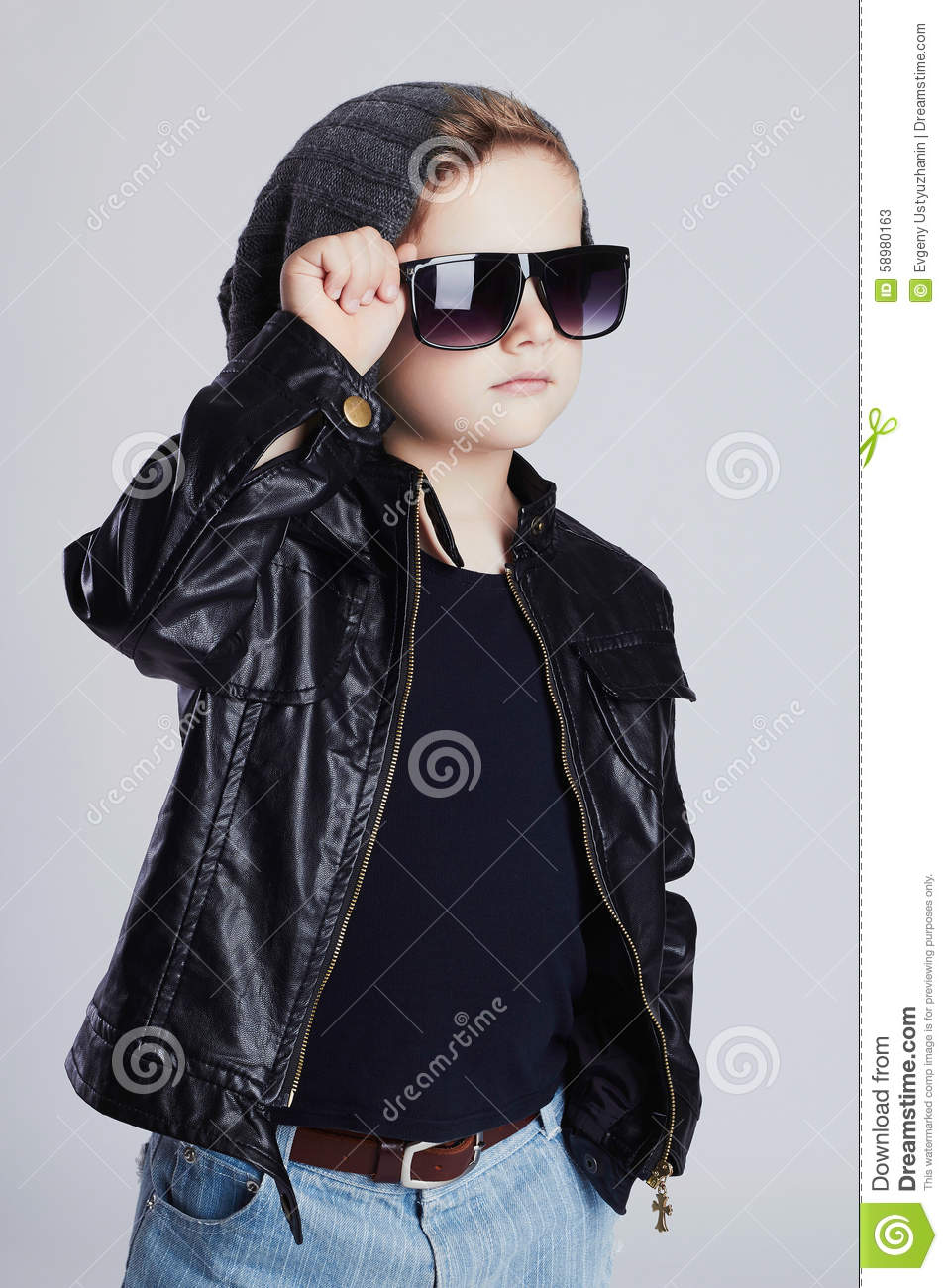 Funny Child Fashionable Little Boy In Sunglasses Emotion