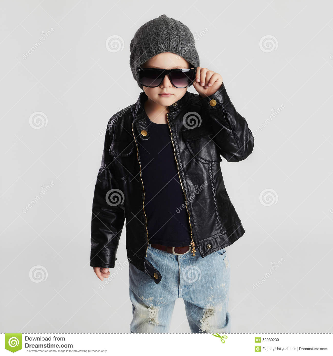 f2e0d64a1d145 Funny child in hat.fashionable little boy in sunglasses.stylish kid in  leather