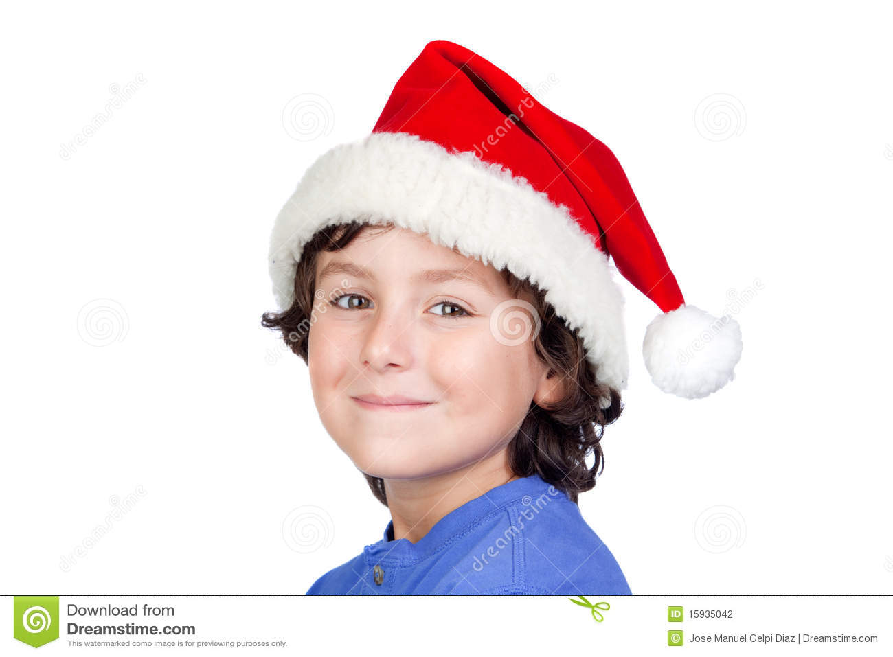 Funny child with santa hat stock photography image
