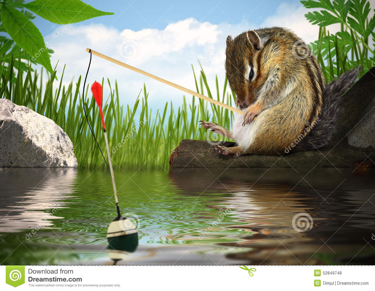 Funny chipmunk fishing, angler concept