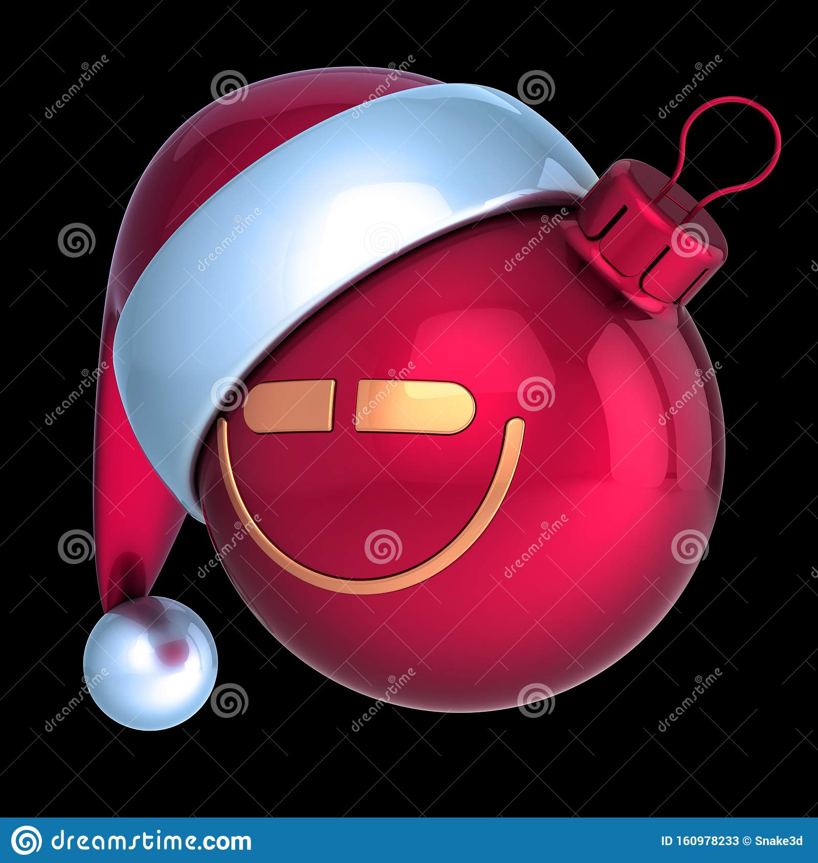 Funny Christmas Ball Smiling Head Santa Hat Avatar Emoji
