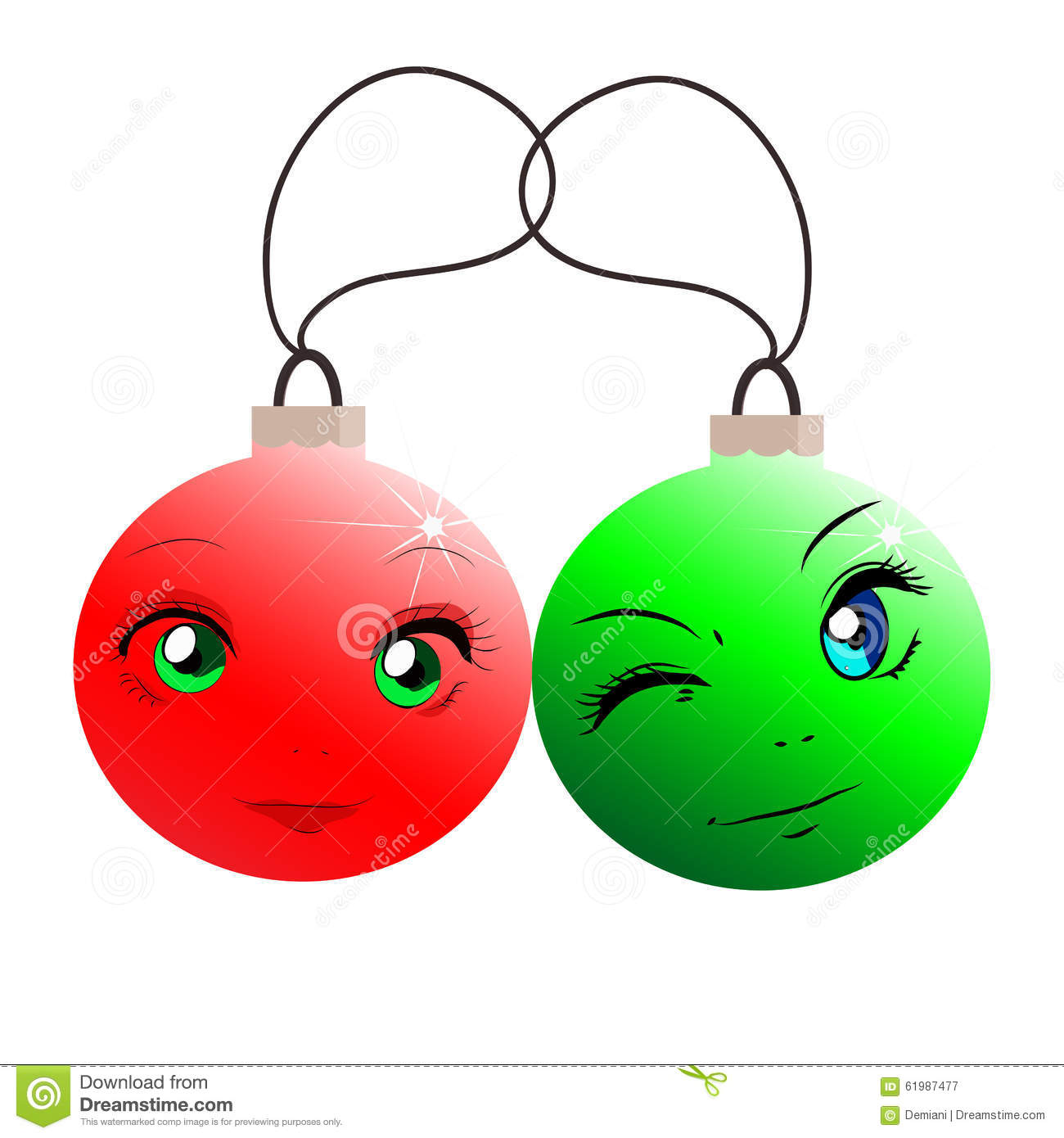 Funny christmas balls in cartoon style red and green