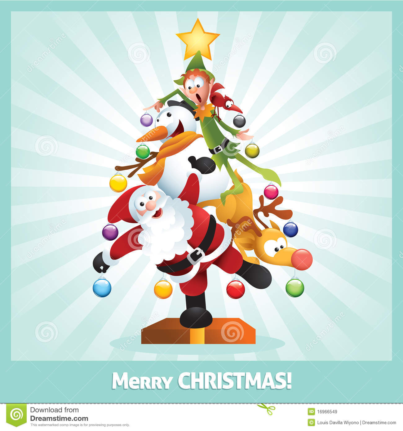 Funny Christmas Card Cartoon Collage Royalty Free Stock Images ...