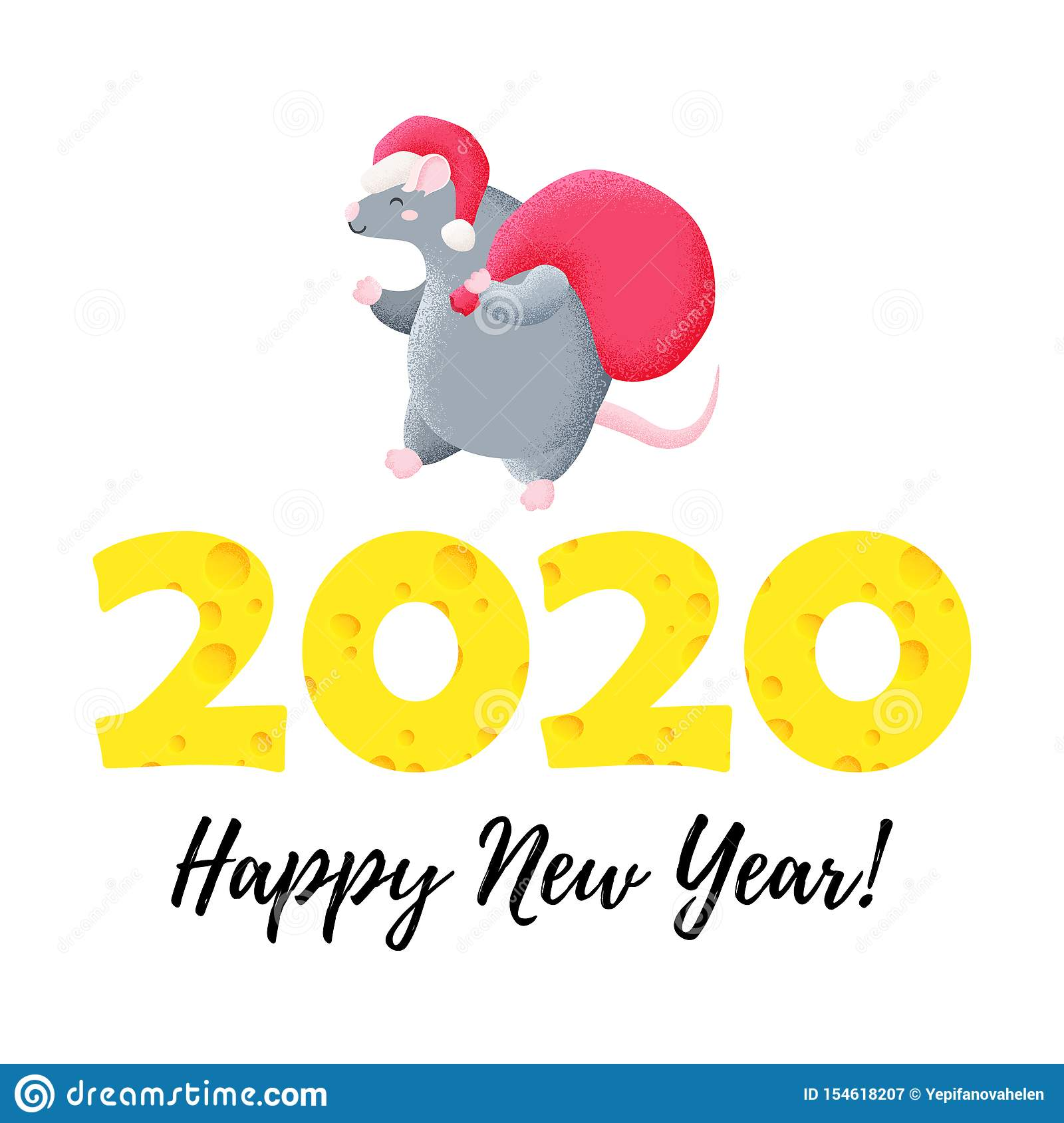 Funny Christmas Card. Chinese New Year. Year Of The Rat