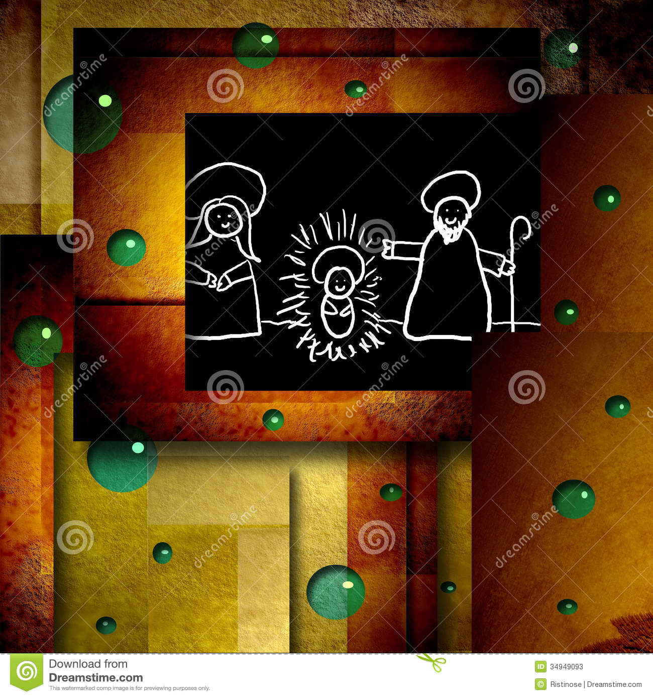 Funny Christmas Card Drawing Holy Family Stock Image Image Of