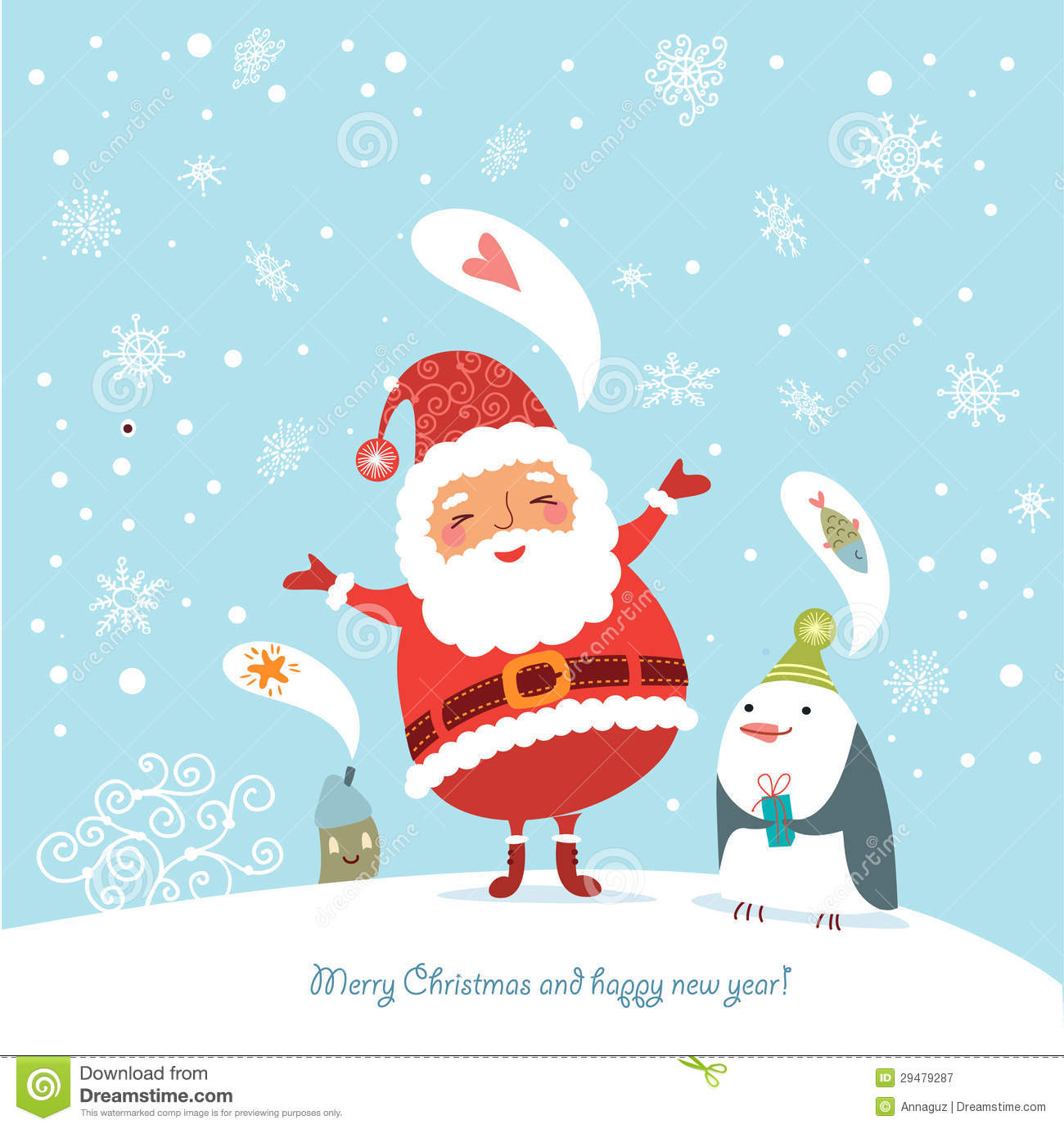 Funny Christmas Card With Santa Royalty Free Stock Photography ...