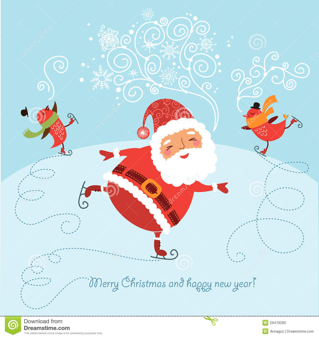 funny christmas card with santa stock vector