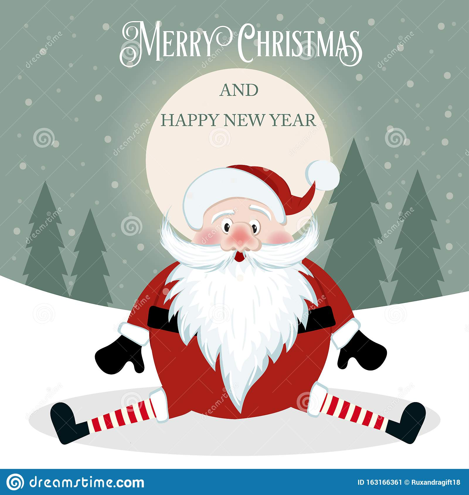 Funny Christmas Card With Santa. Flat Design. Vector Stock