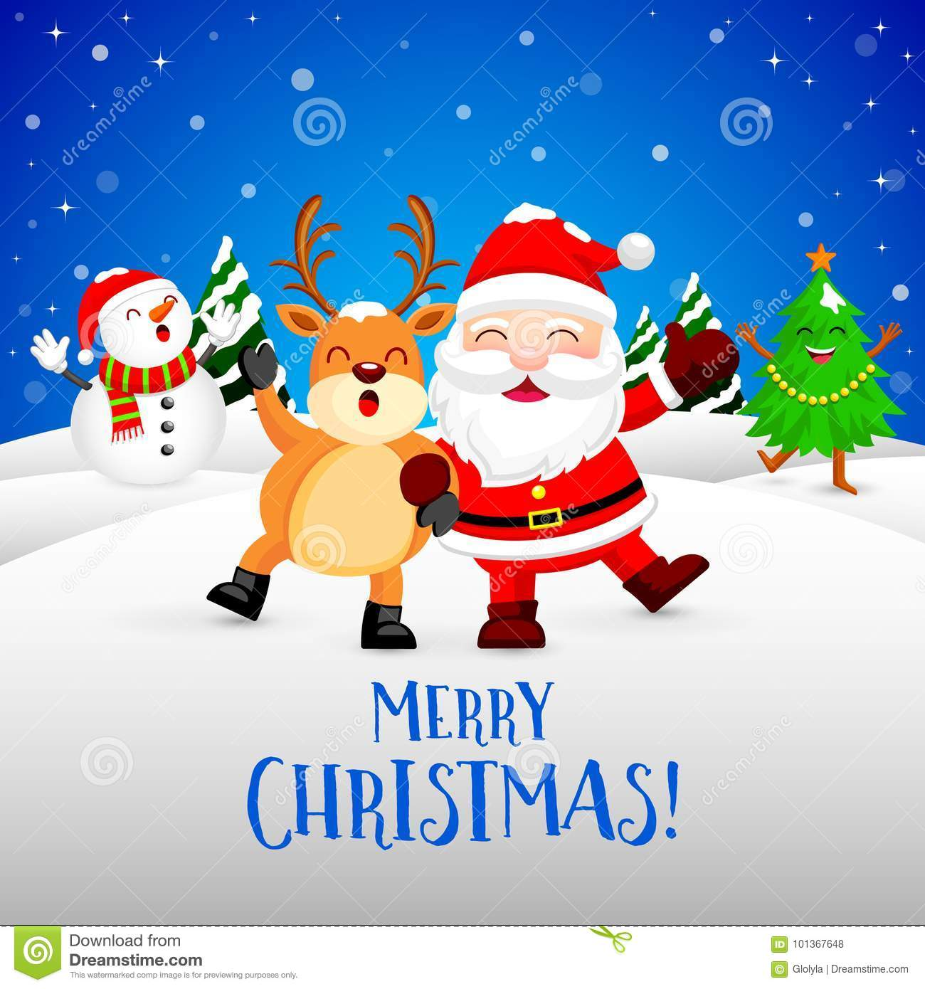 Funny Christmas Characters Design On Snow, Santa Claus, Snowman ...