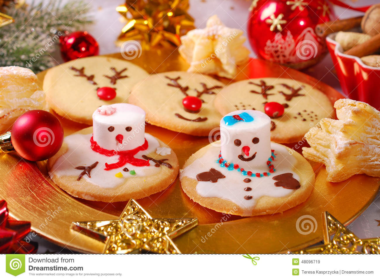 Download Funny Christmas Cookies Made By Kids Stock Image