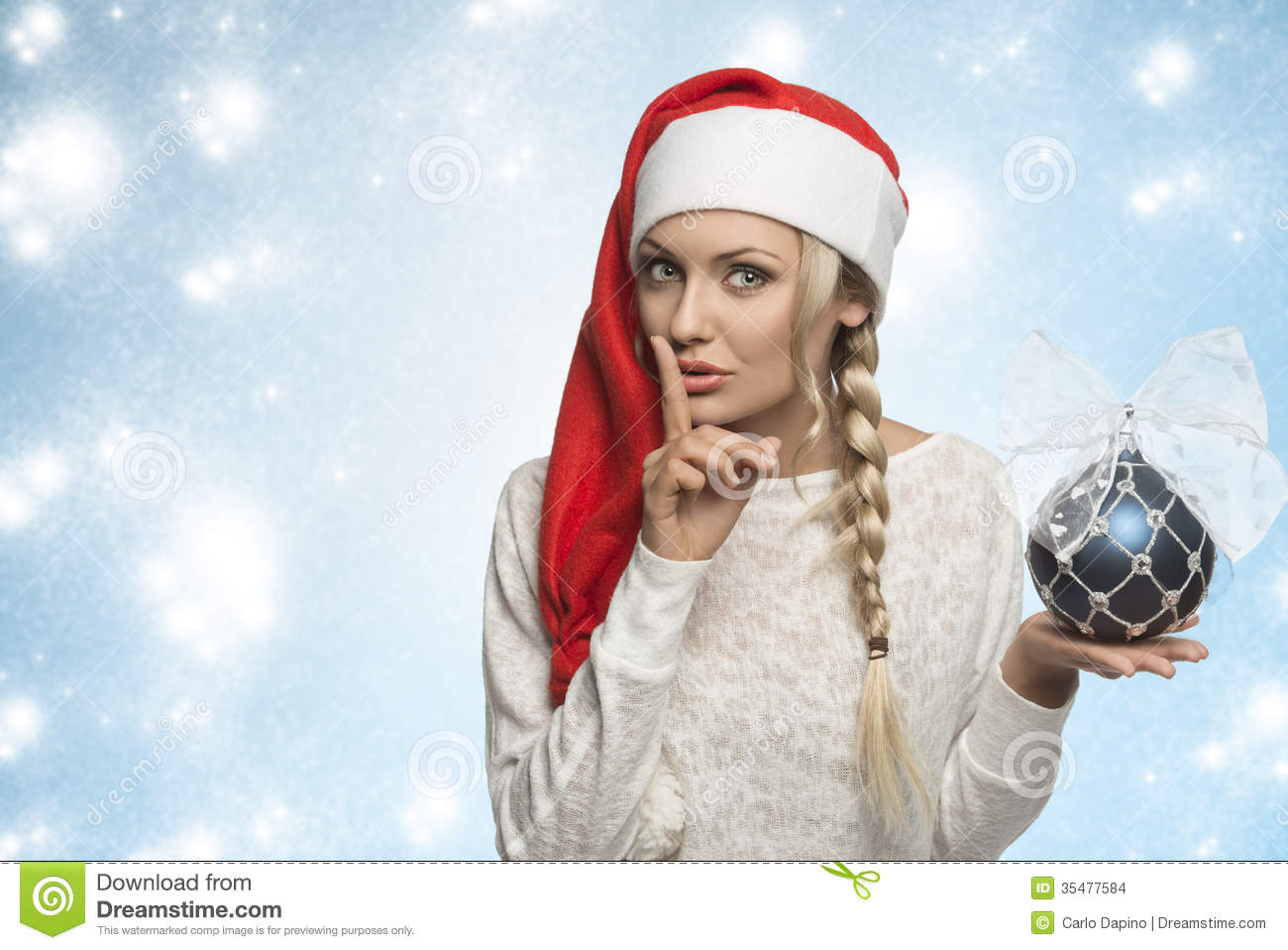 Funny Christmas Girl With Red Hat Stock Photo