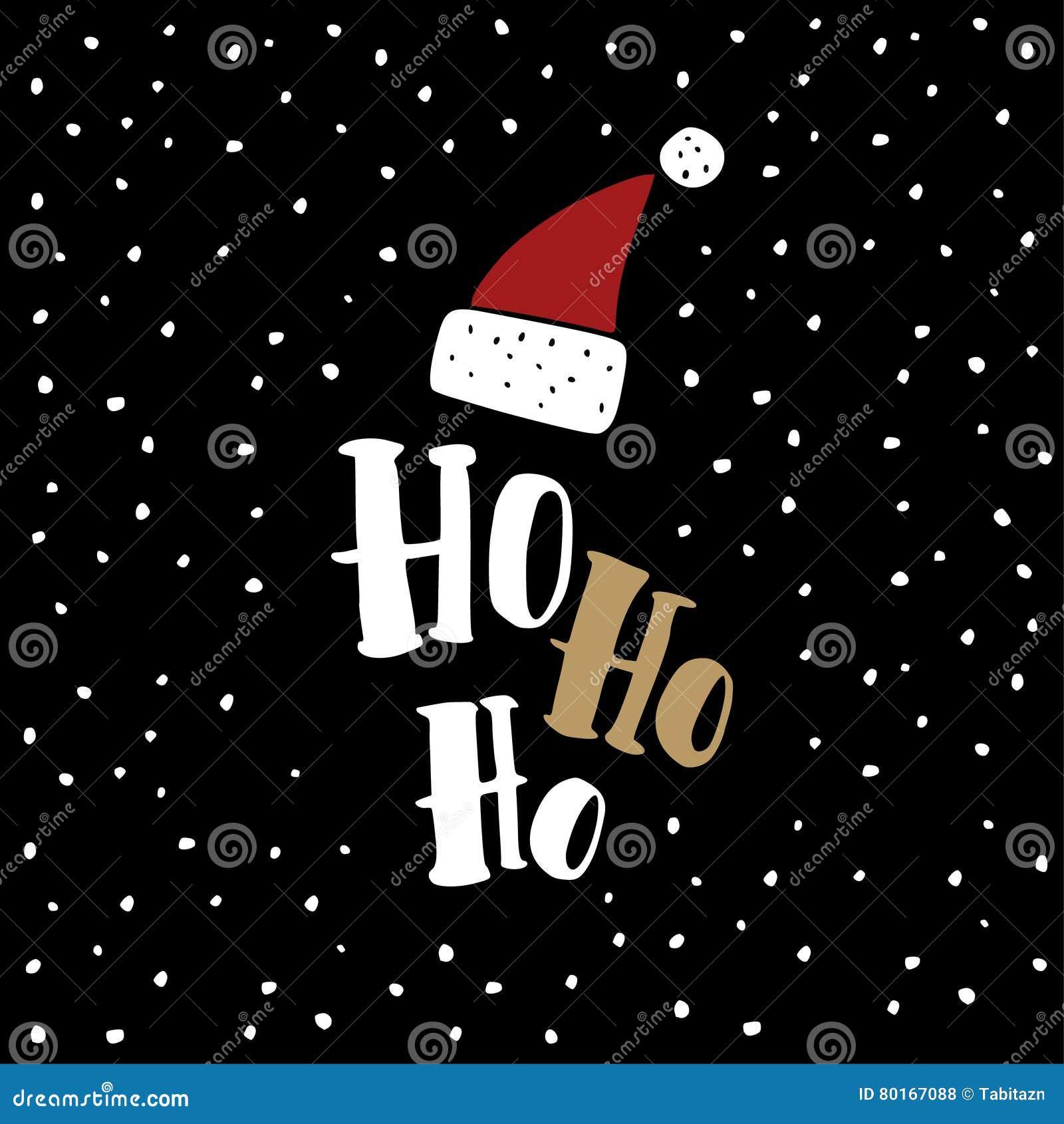 Ho Ho Ho Christmas Vector Greeting Card Vector