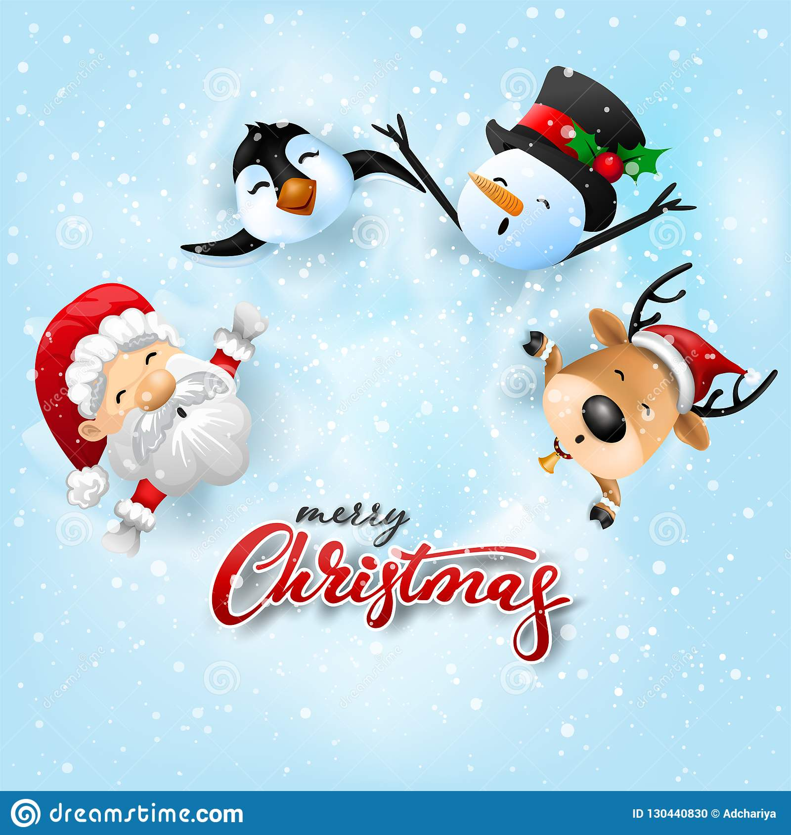 Weihnachtsgrüße Funny.Funny Christmas Greeting Card With Santa Claus Deer Snowman And