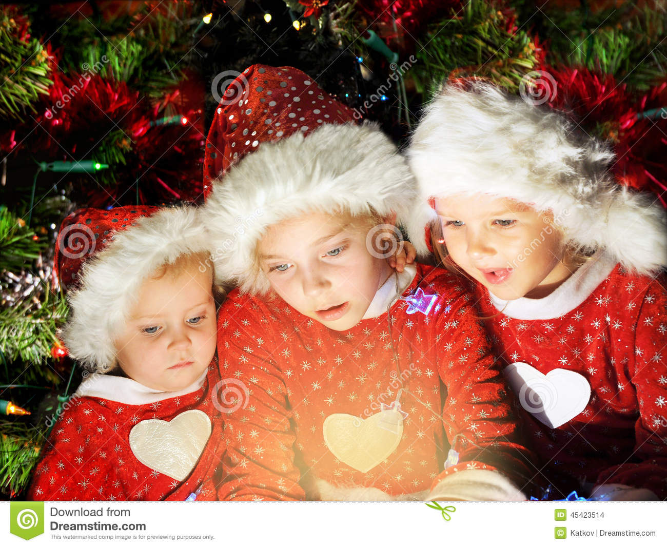 Funny Christmas Kids Stock Photo Image Of Friends Little