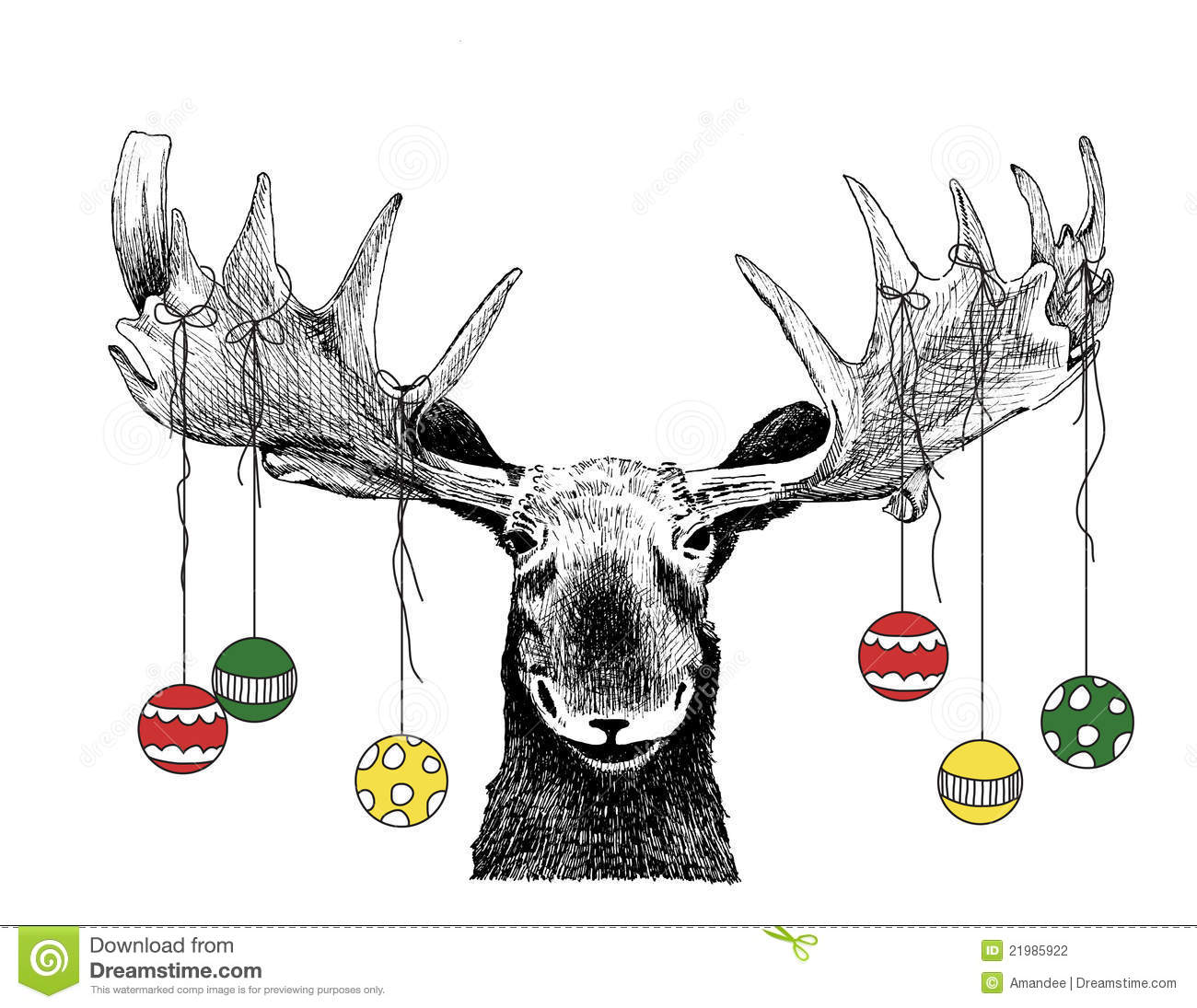 Funny Christmas Moose With Ornaments Stock Photography ...