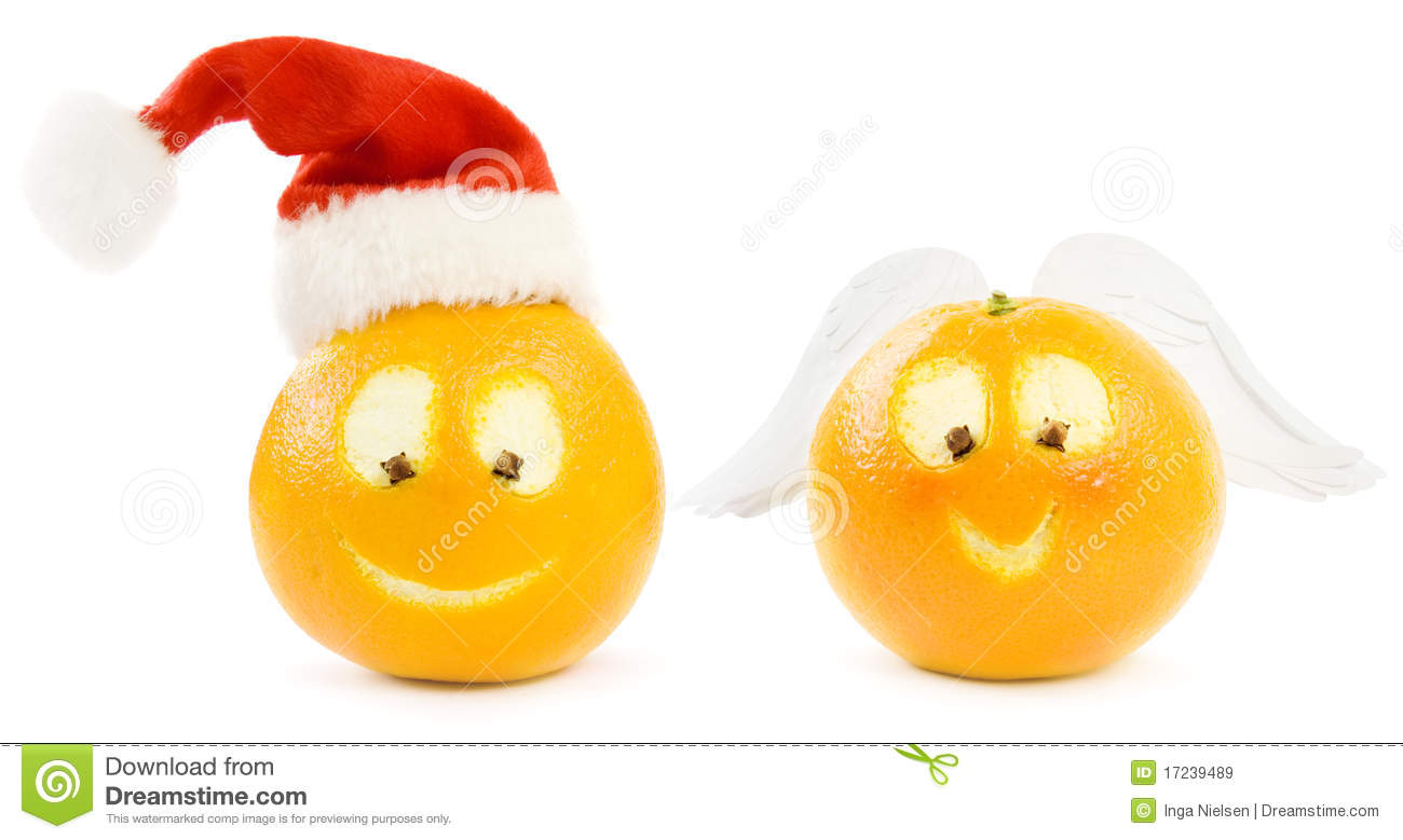 Funny Christmas Oranges Royalty Free Stock Images - Image: 17239489