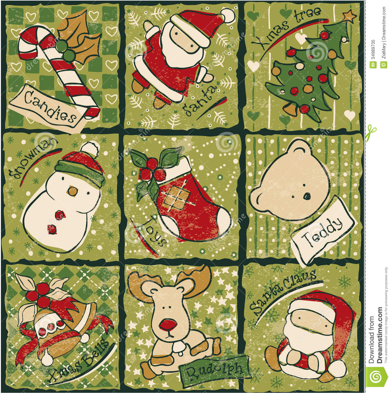 Funny Christmas Patchwork Elements Royalty Free Stock Photo Image 34989735