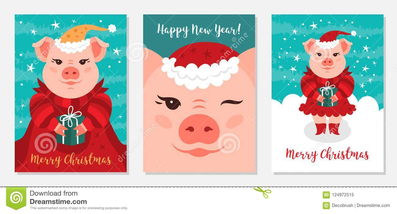 Funny Christmas Pigs, Greeting Cards Merry Christmas And New Year ...