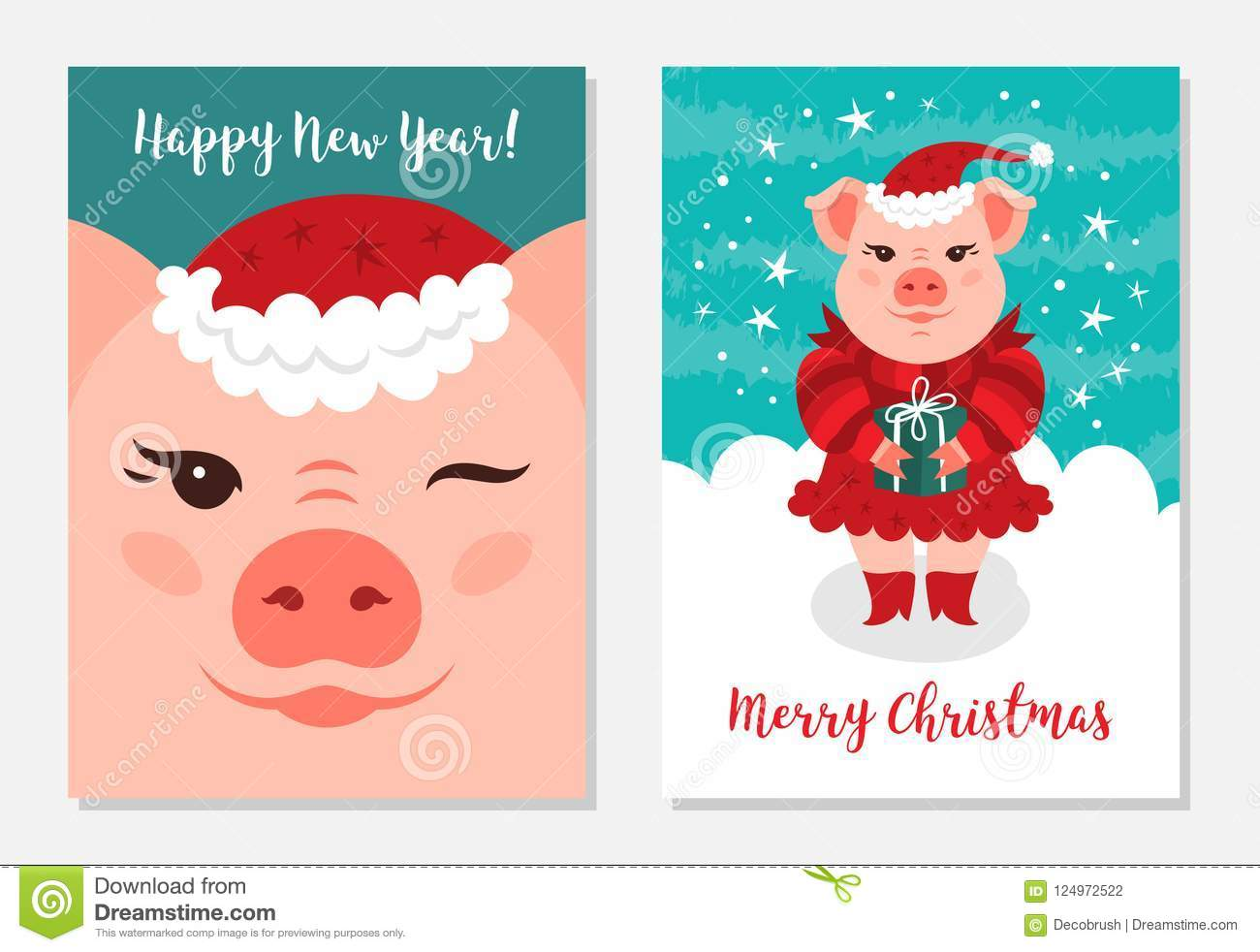 Funny Christmas Cards 2019 Funny Christmas Pigs, Greeting Cards Merry Christmas And New Year