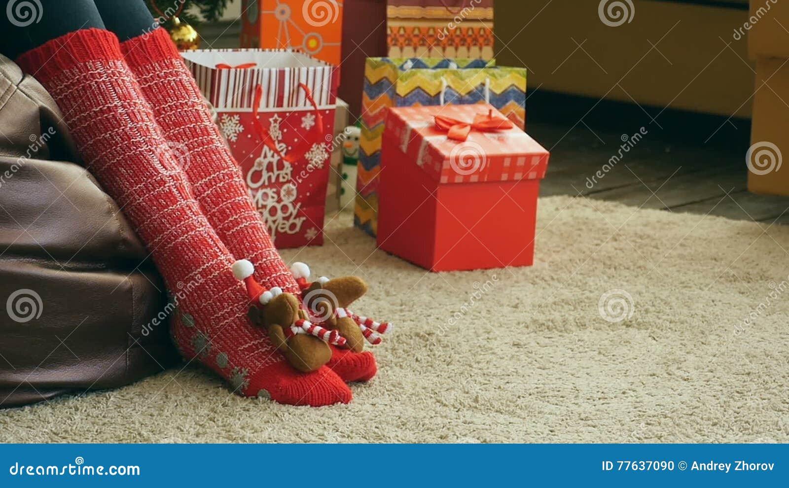 funny christmas socks stock footage image of cloth girl 77637090 - Funny Christmas Socks