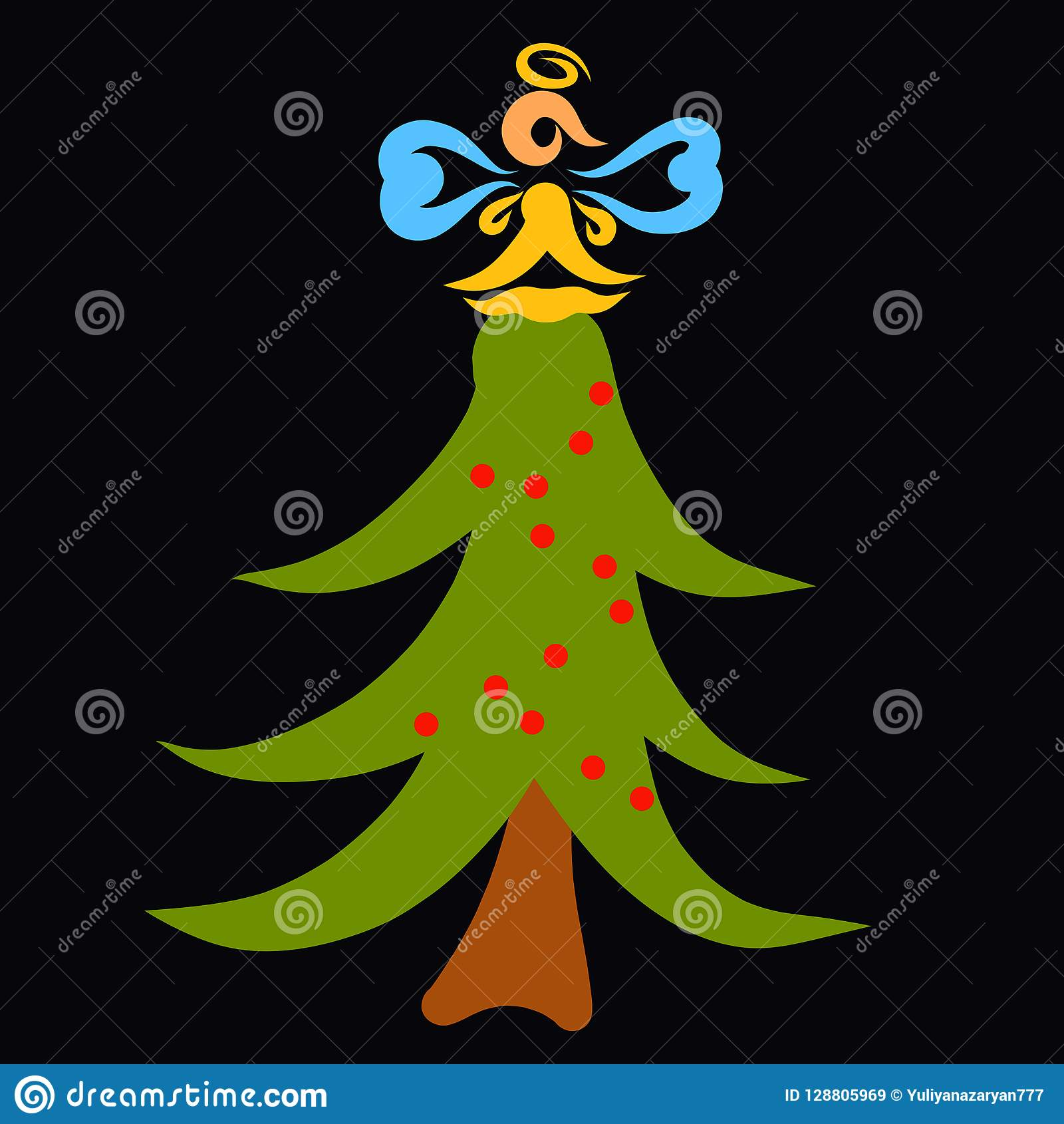 Funny Christmas Tree With A Garland And An Angel On Top Black B