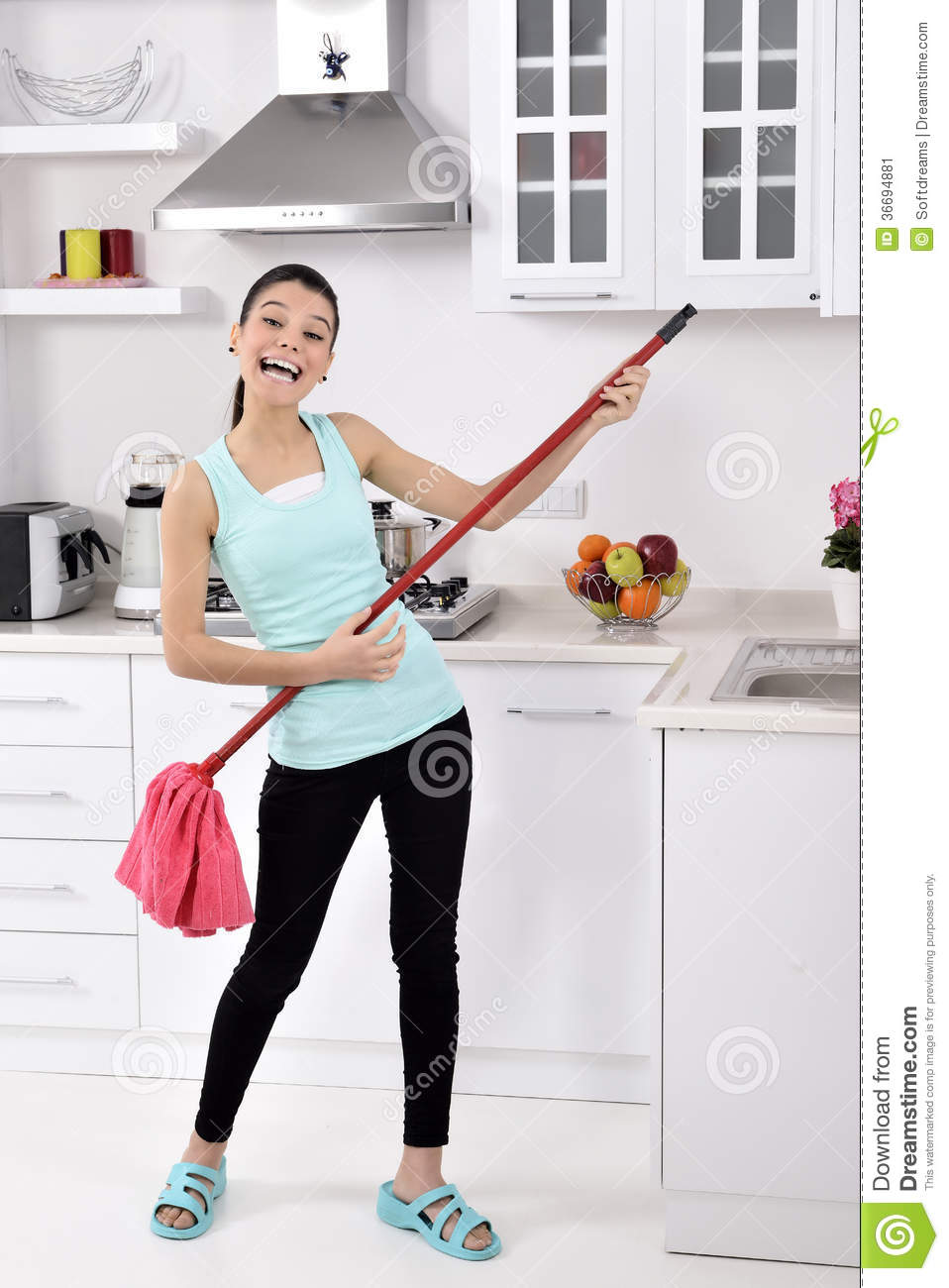 Funny Cleaning Woman In Home Stock Image - Image of funny