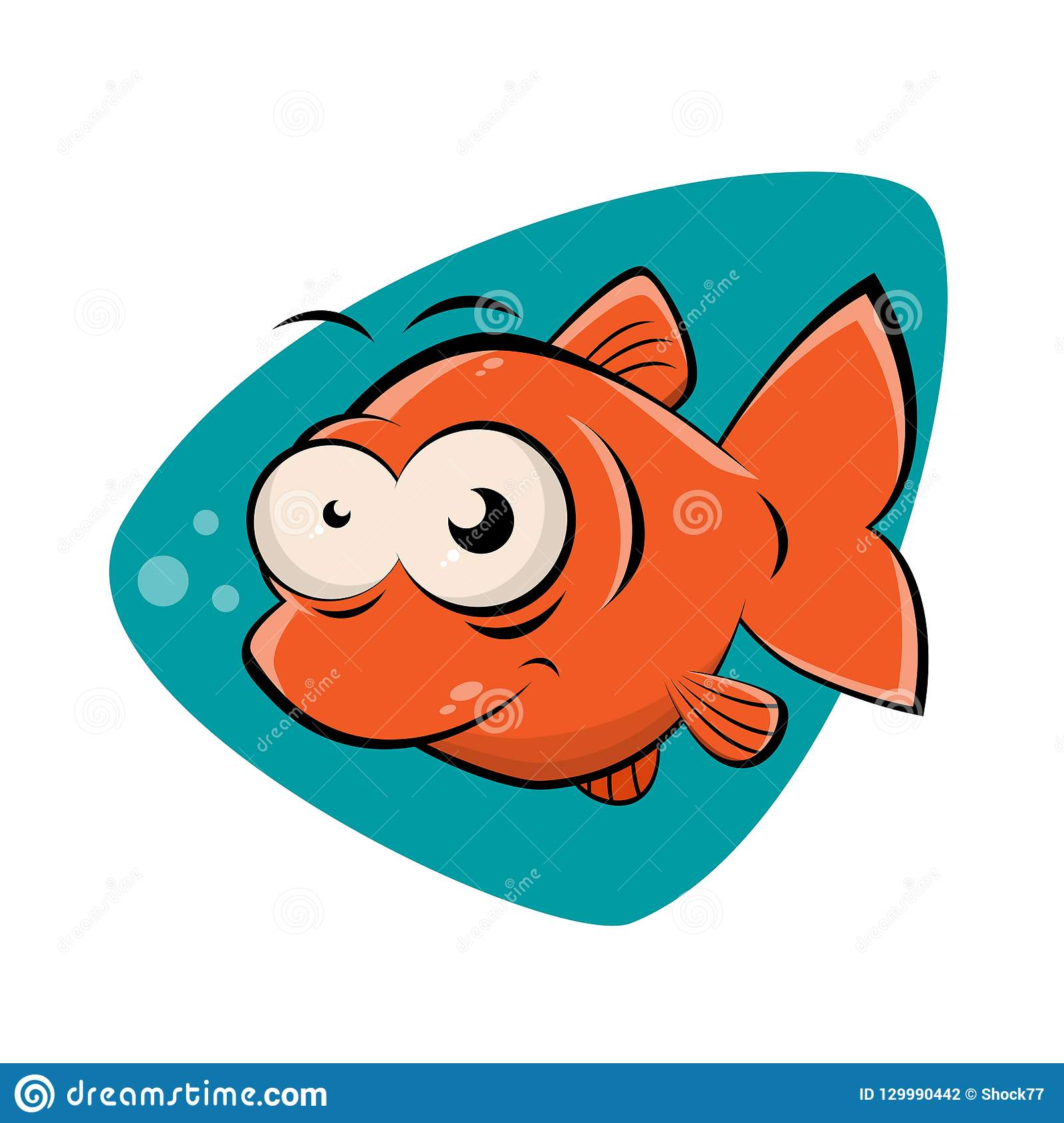 Funny Clipart Of A Smiling Fish Stock Vector Illustration Of Happy Swimming 129990442