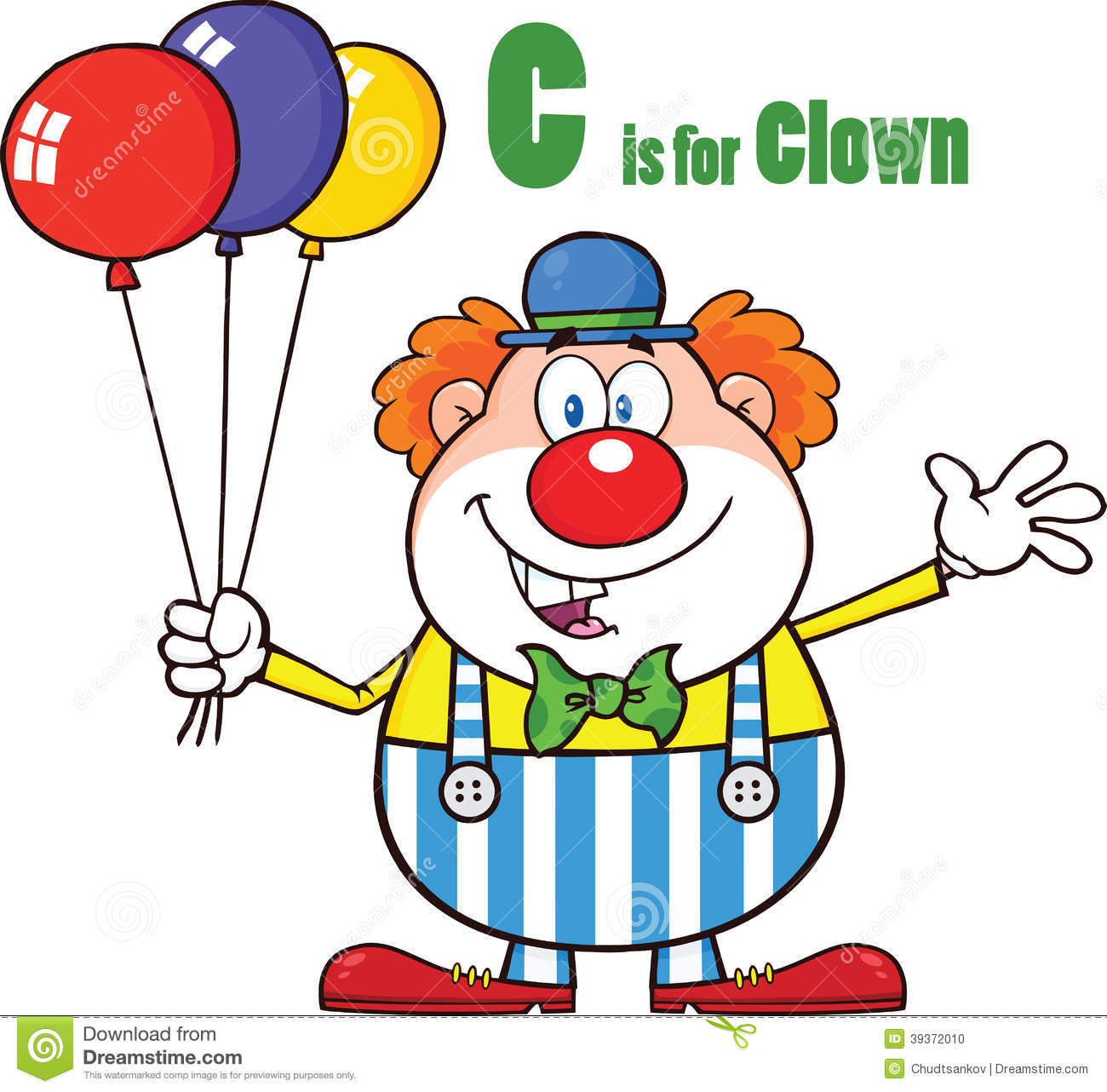 9 Letter Cartoon Characters : Funny clown cartoon character with balloons and letter c