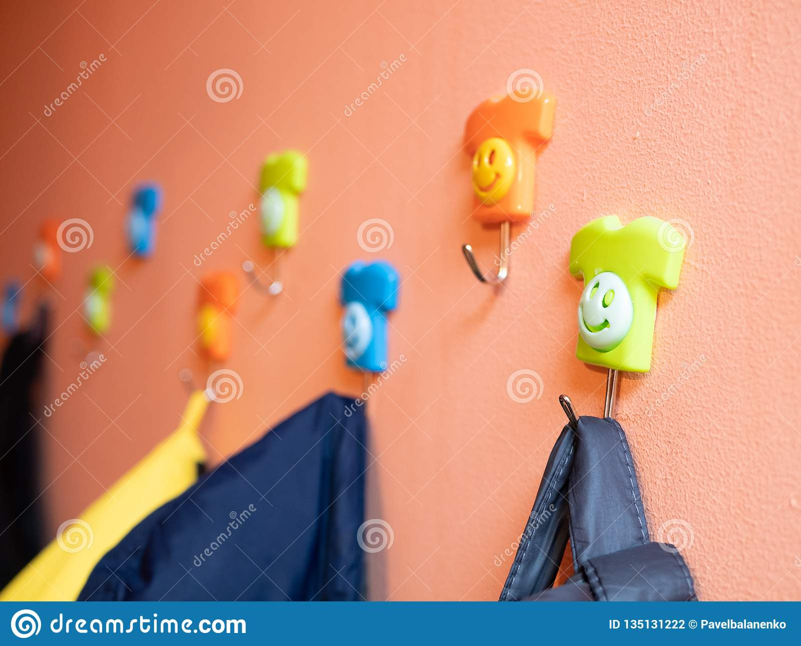 Funny Colored Hangers For Apparel On Wall Stock Photo Image Of Baby Cute 135131222
