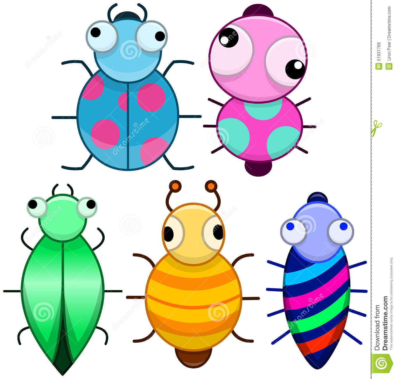 Funny Colorful Cute Little Bugs Stock Vector ...