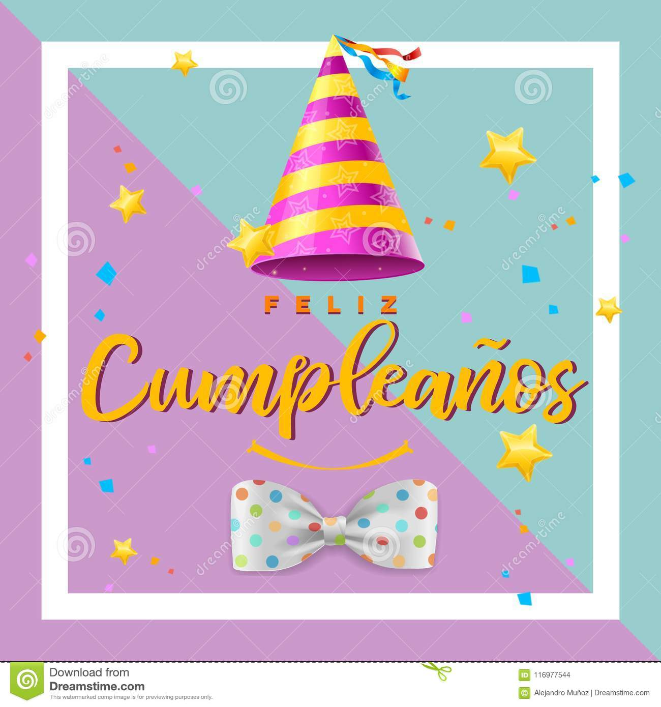 Happy Birthday Card In Spanish With Cheerful Colors And Fun Elements