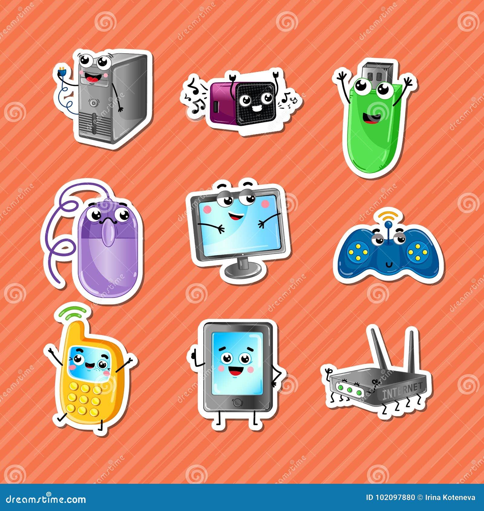 Funny computer gadgets cartoon characters set stock vector download funny computer gadgets cartoon characters set stock vector illustration of electronics gadget keyboard keysfo Gallery