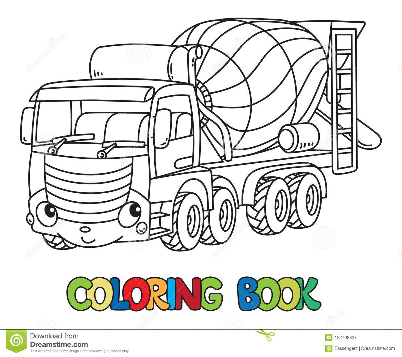 Funny Concrete Mixer Truck With Eyes Coloring Book Stock Vector ...