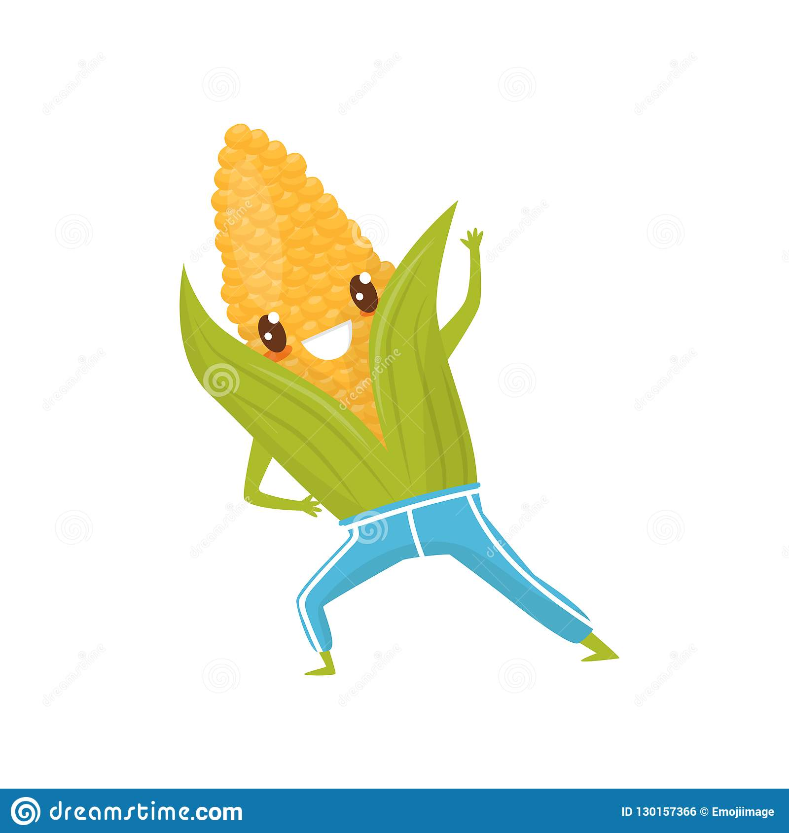 Funny corncob doing sports, sportive vegetable cartoon character vector Illustration on a white background