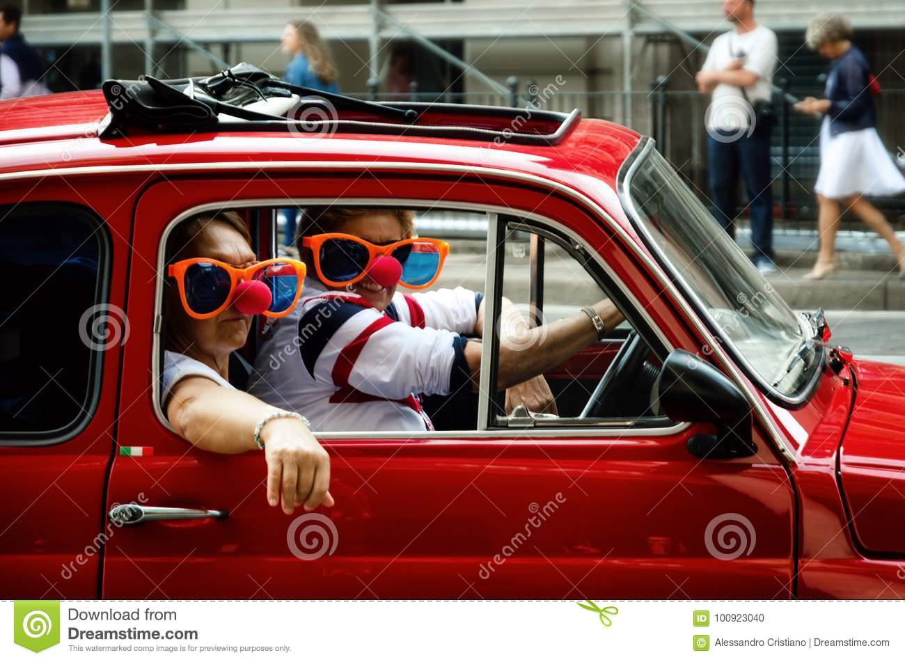 Funny Couple In A Fiat 500 Classic Car Editorial Image Image Of