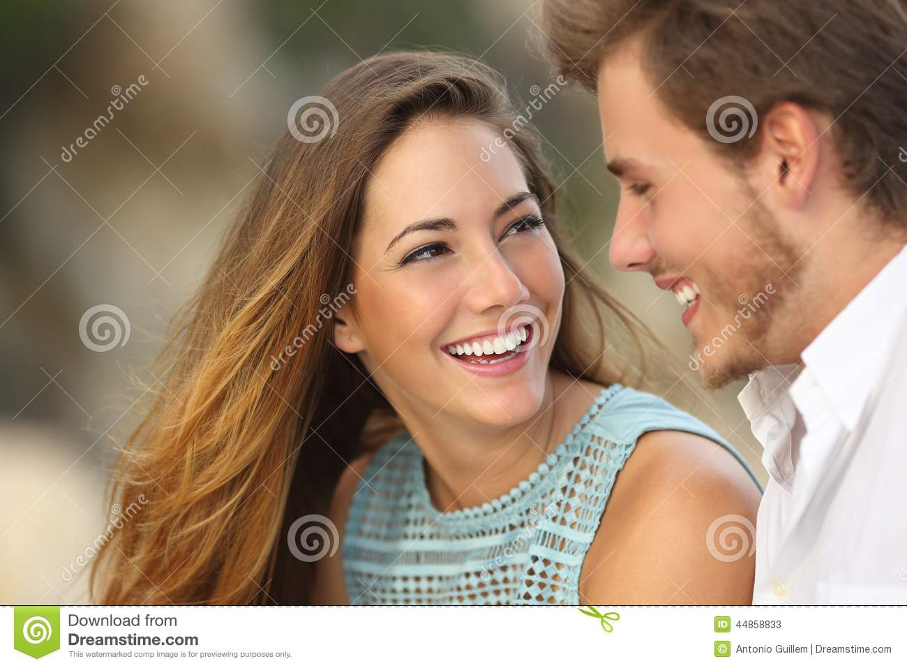 Funny Couple Laughing With A White Perfect Smile Stock ...