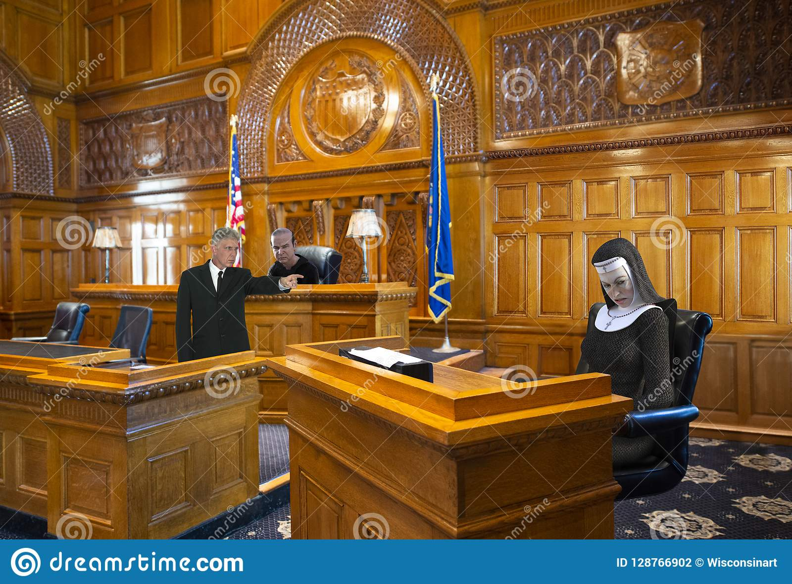 Funny Courtroom, Nun, Judge, Lawyer