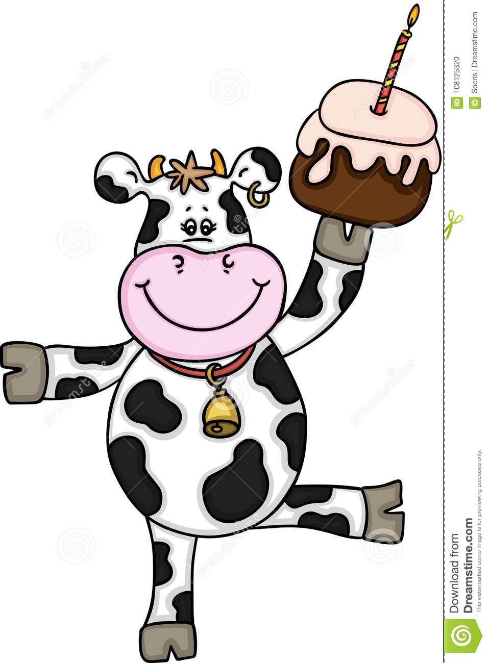 Terrific Funny Cow With Birthday Cake Stock Vector Illustration Of Funny Birthday Cards Online Overcheapnameinfo